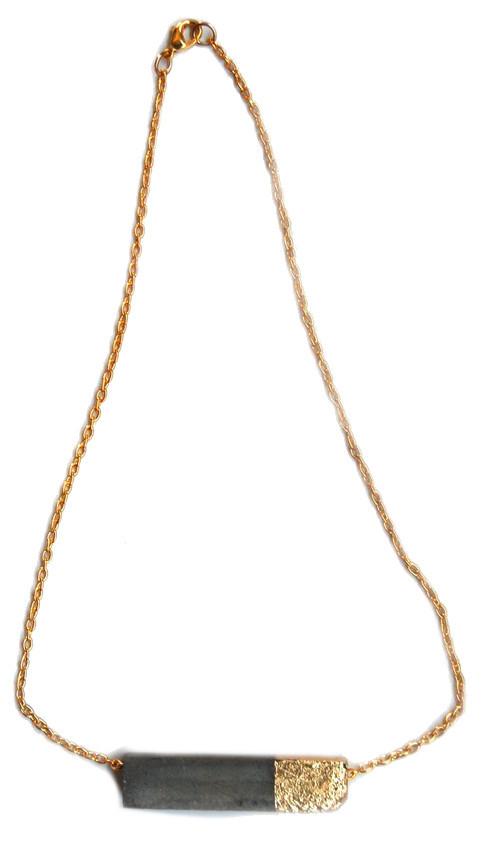 "Maple & Mauve Gold Leaf Rectangle 20"" Chain Necklace"