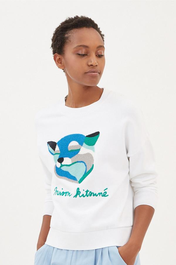 Kitsune Sweat Shirt Fox Ines Longevial White Garmentory