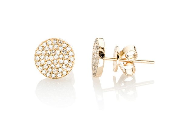 EF Collection DIAMOND DISC STUD EARRINGS - gold