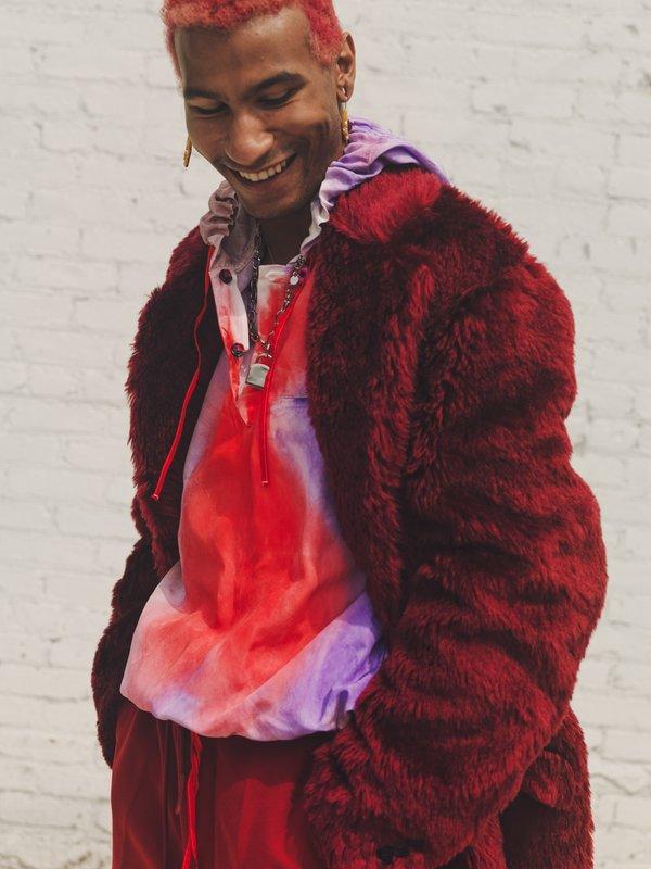 Marni Viscose Oversized Hoodie Shirt - Red/Purple Tye Dye