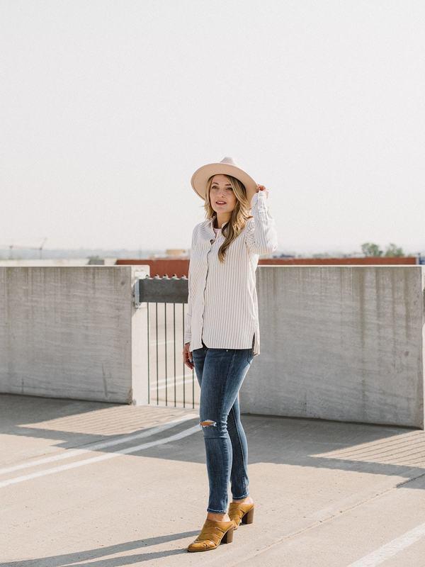 Thread & Supply Roya Shirt - Ivory/Grey Stripe