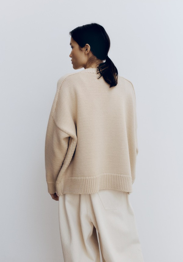 Mónica Cordera Wool Saddle Cardigan - Beige