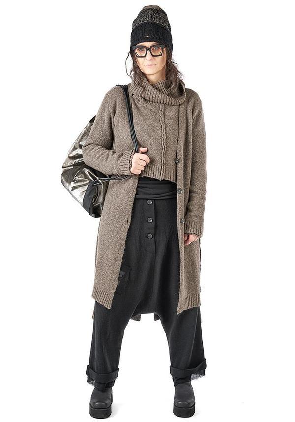 Studio B3 Omles Asymmetric Long Oversized Button Front Knit Cardigan - BEIGE