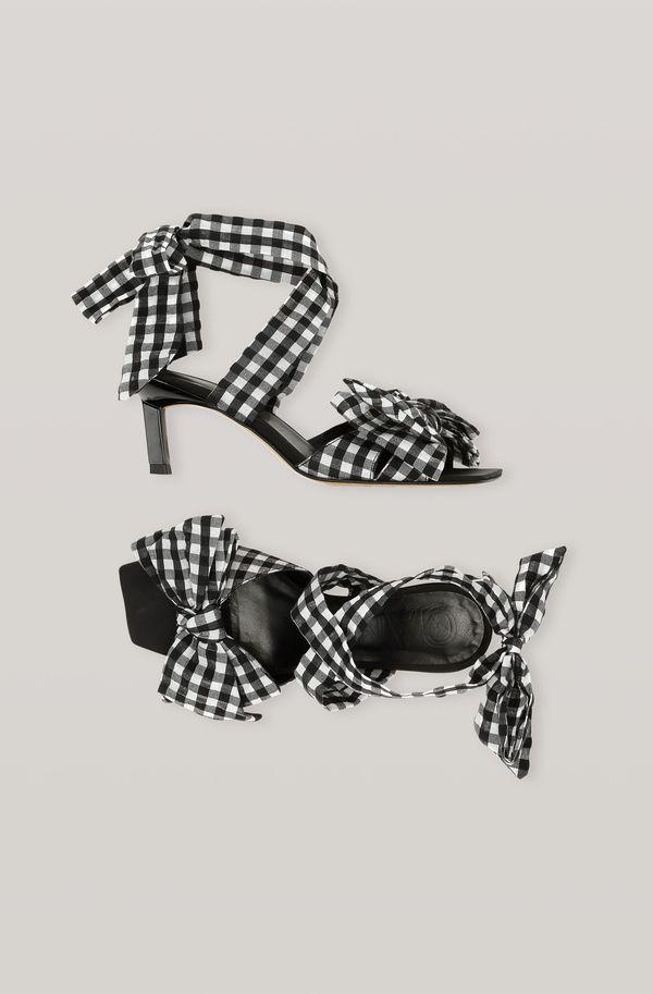 Heeled Bow Sandals in Black Seersucker