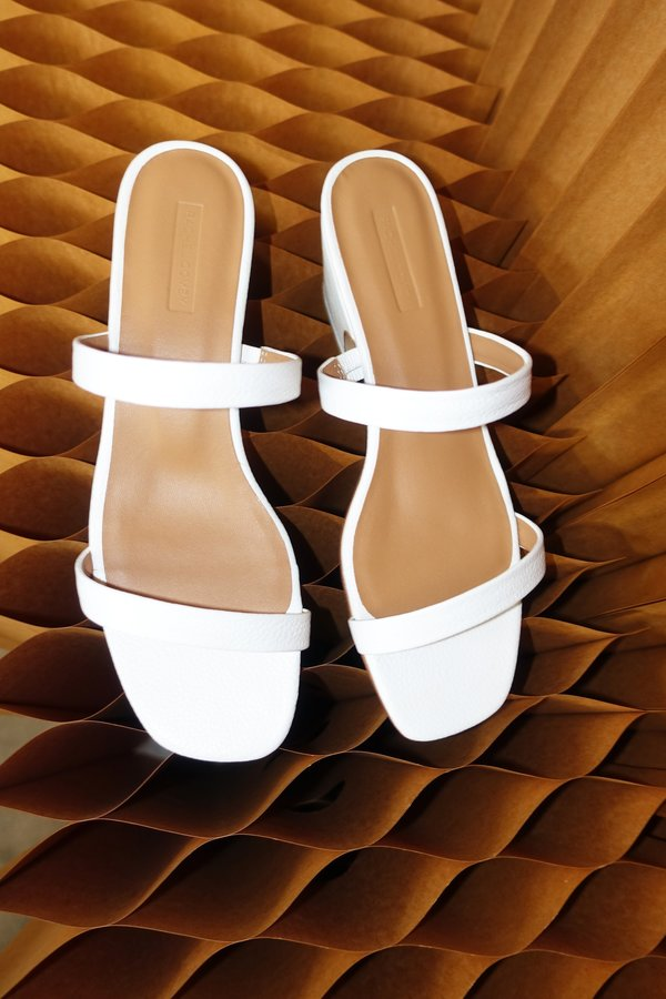 Rachel Comey Low Lico Pebbled Leather Slide - White