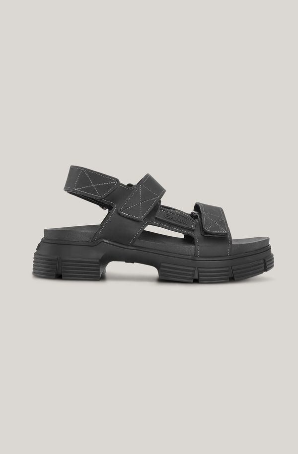 Sandal in Black Recycled Rubber