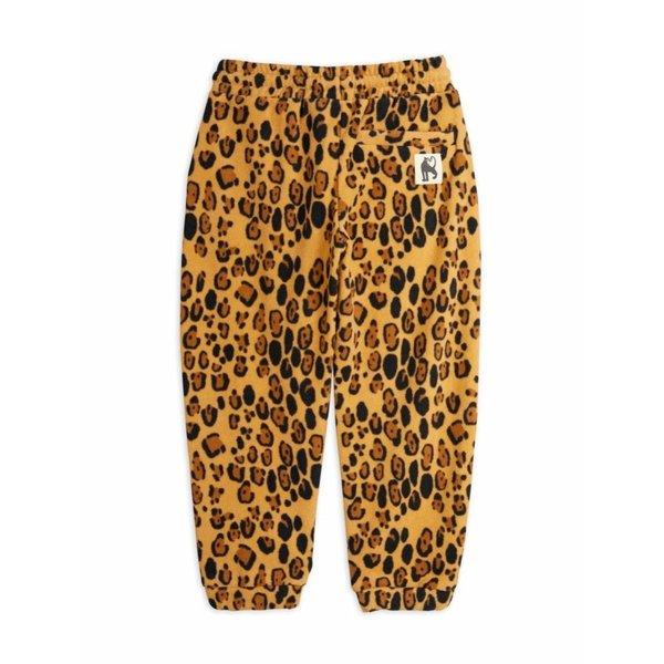 Kids mini rodini leopard fleece trousers - beige