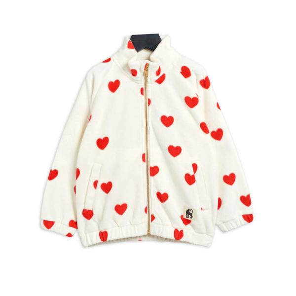 Kids Mini Rodini Hearts Fleece Jacket - Off White