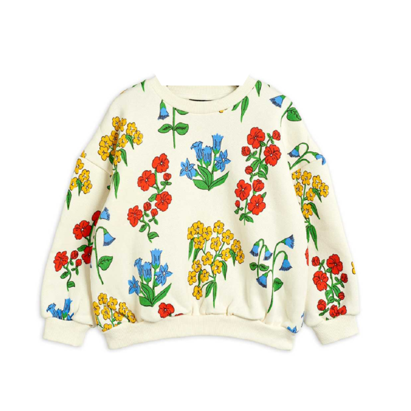 Kids Mini Rodini Snow Flowers Sweatshirt - Off White