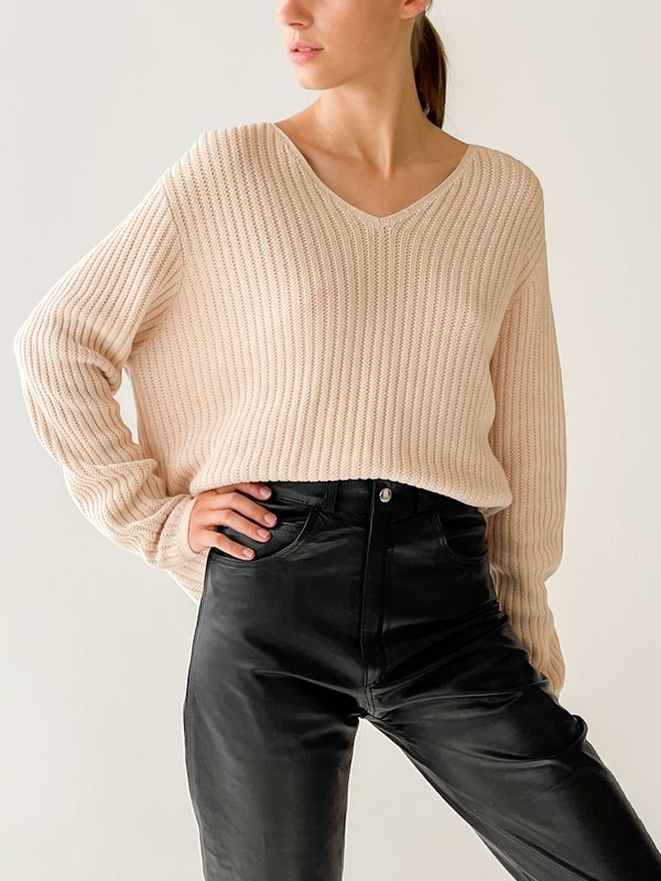 Vintage Ribbed Knit Sweater - ecru