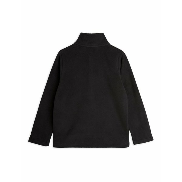 kids mini rodini micro fleece zip long sleeve tee - black