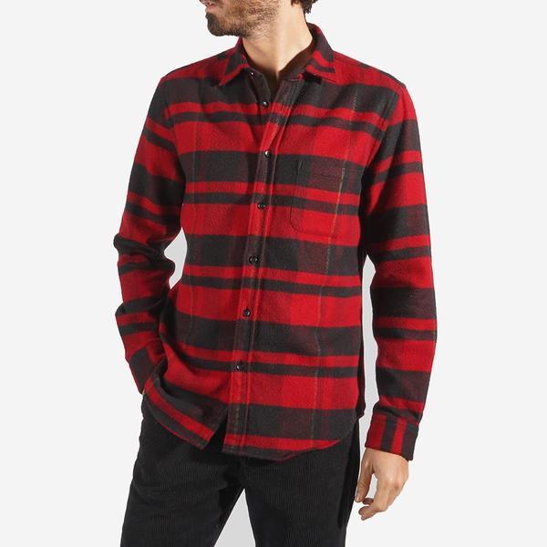 Portuguese Flannel Bonefire Stripe Flannel Shirt - Black/Red