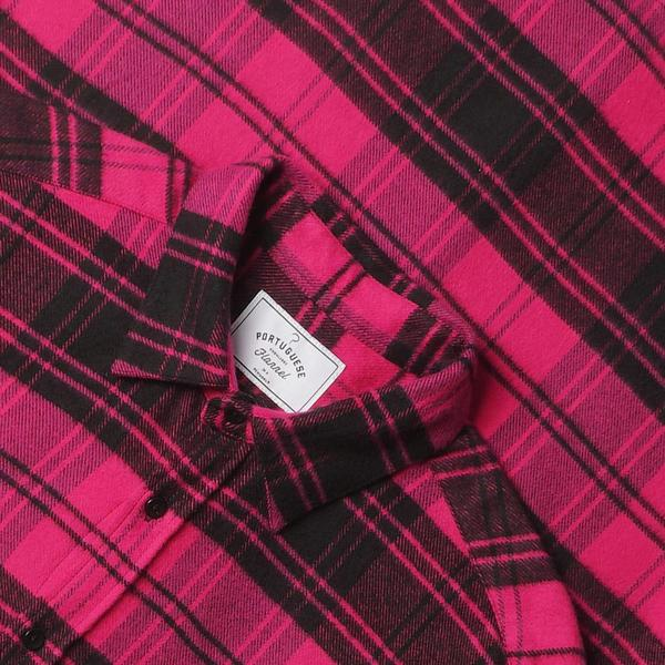 Portuguese Flannel La Madonna Plaid Flannel Shirt - Pink/Black