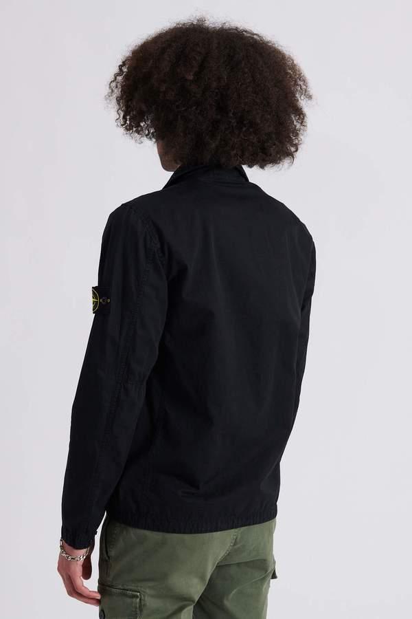 Stone Island Brushed Cotton Canvas Garment Dyed Over Shirt - Black