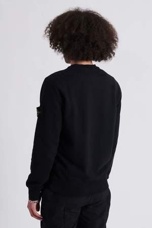 Stone Island Brushed Cotton Fleece Crew Neck Sweat Shirt - Black