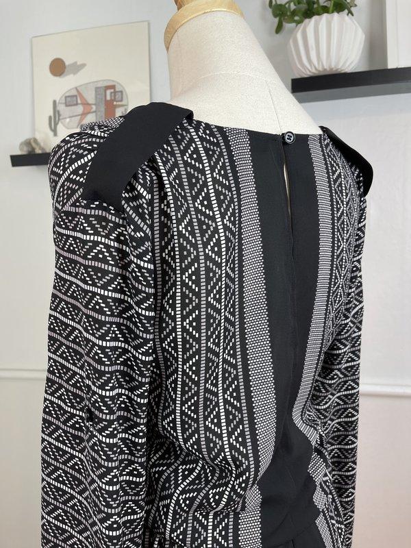 BCBG Max Azria Black Printed Romper (XS)