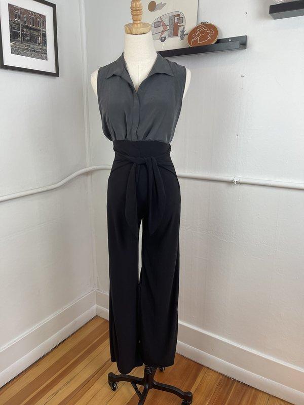 Vintage Ecru Silk Sleeveless Tank - Gray