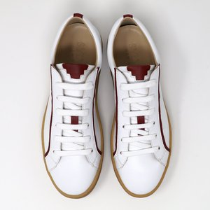 Sylven New York MEL vegan apple leather sneaker - white/scarlet