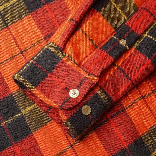 Portuguese Flannel Nebraska Stripe Plaid Flannel Shirt - Grapefruit