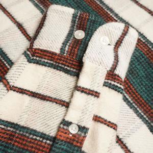 Portuguese Flannel St. Patrick Stripe Flannel Shirt - Cream/Forest Green