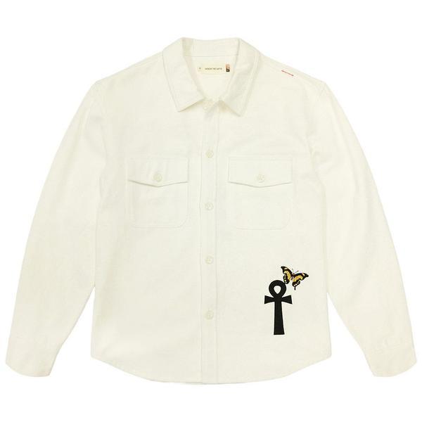 Denim Shirt - L/S Button Up 'Bone'