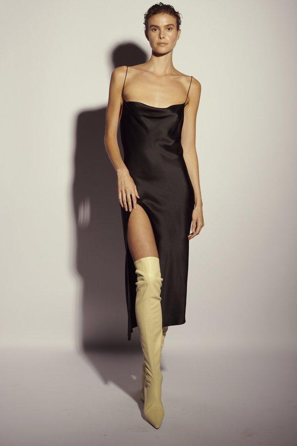 KES Full-Length Juno Front Slit Slip Dress - Green Rose (Pre-Order)