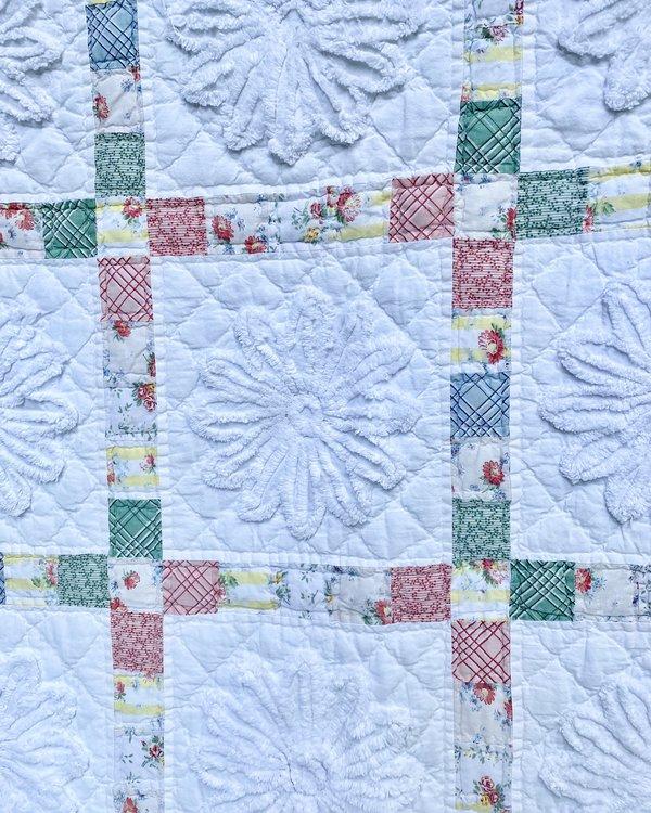 Vintage Floral Chenille Patchwork Quilt