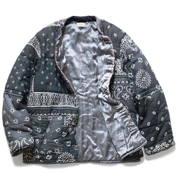 Gauze Bandana Patchwork Quilt Samue Blouson 'Black'