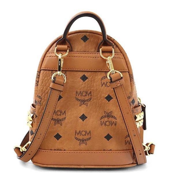 Stark Bebe Boo Side Studs Backpack In Visetos 'Cognac'