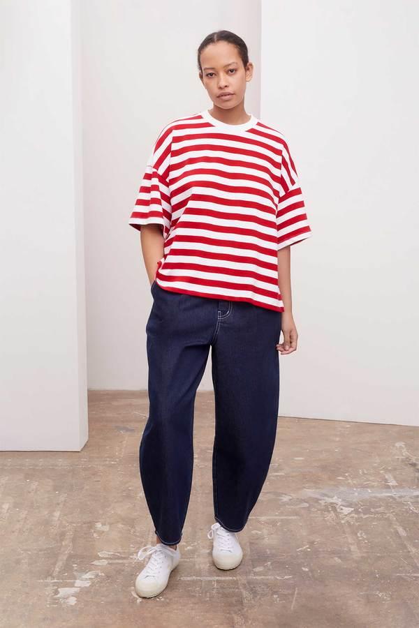 Kowtow Oversized Boxy Tee - Red Stripe