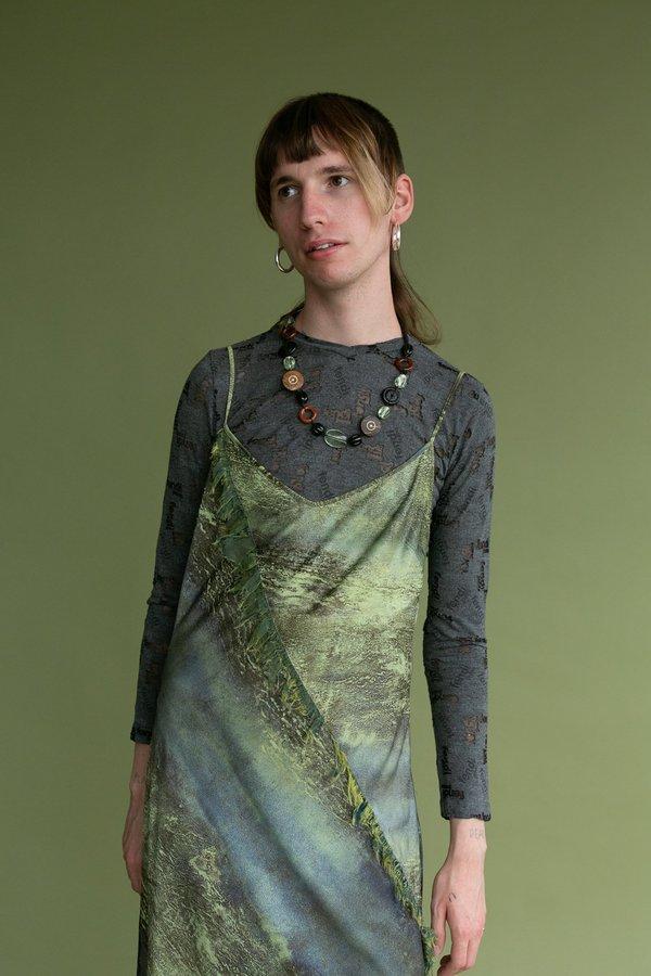 Vintage Landscape Printed Slip Dress