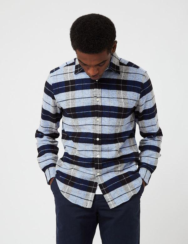 Portuguese Flannel Nebraska Check Shirt - Frosty Blue