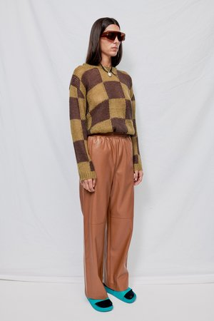 Green Chessboard Check Knit Top