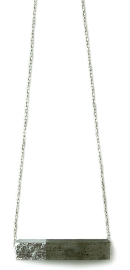 "Silver Leaf Rectangle 20"" Chain Necklace"