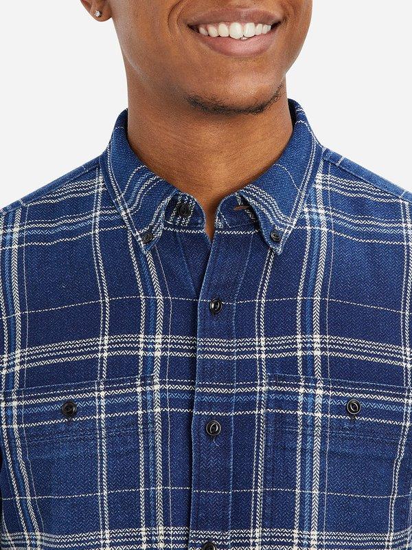 O.N.S Fulton Denim Flannel Pkt Shirt - Mid Indigo Check