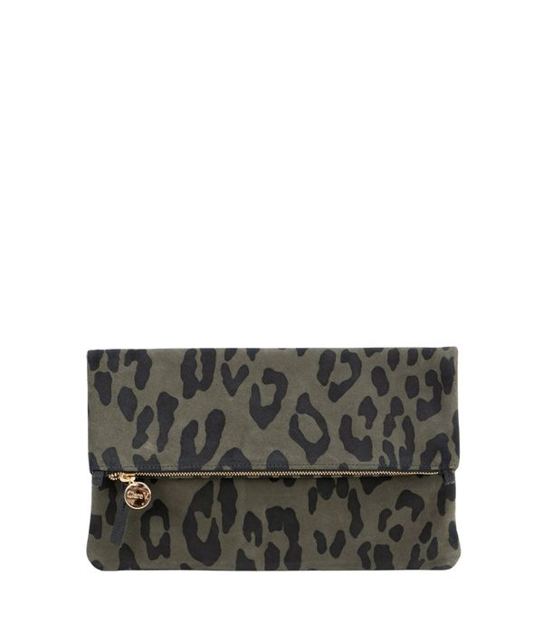 Clare V. Foldover Tabs- Army Pablo Cat Suede Clutch - Gray