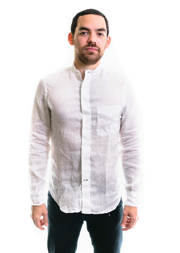 Gitman Vintage Ls Linen Banded Collar Shirt White