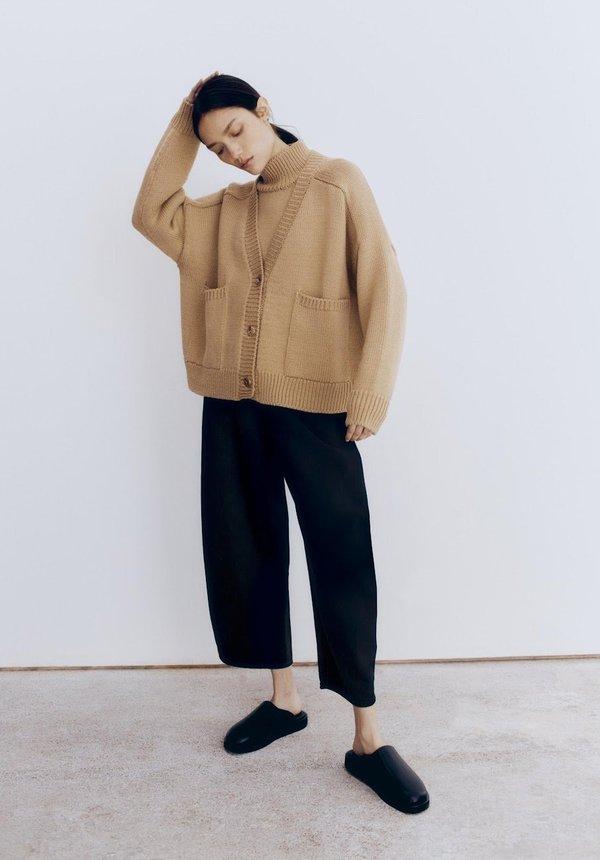 Mónica Cordera Wool Saddle Cardigan - Camel