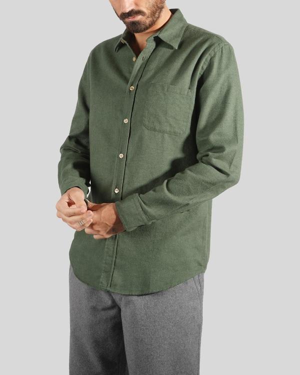 Portuguese Flannel Teca Shirt - Moss Green