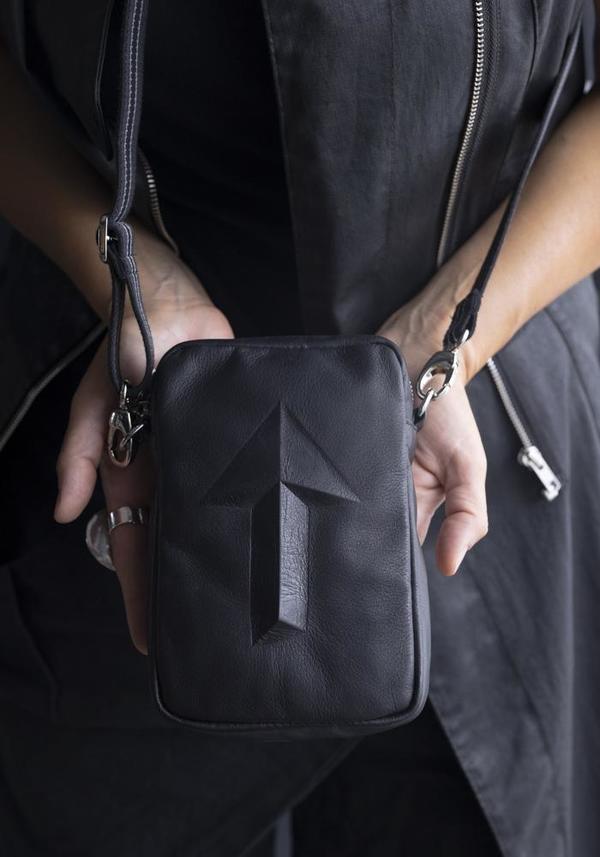 Gabriele Frantzen Arrow Embossed Leather Cross Body Belt Bag - Black