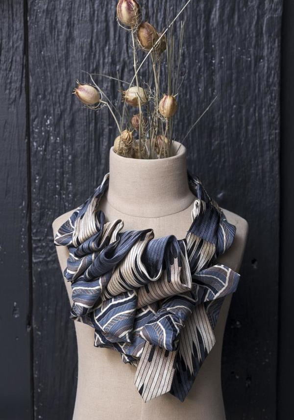 Lilian Asterfield Aster Silk Ascot - Taupe/Blue Striped