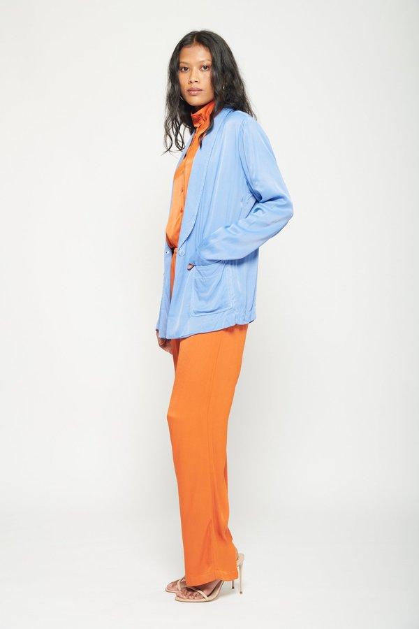 Raquel Allegra Shawl Blazer - Orange/Blue