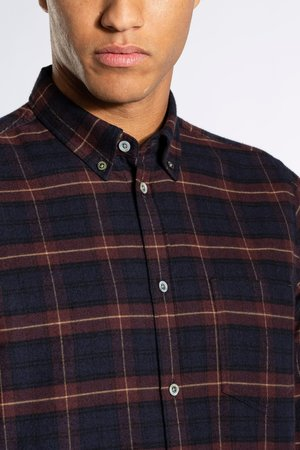 Norse Projects Anton Brushed Flannel Shirt - Check Cordovan Brown