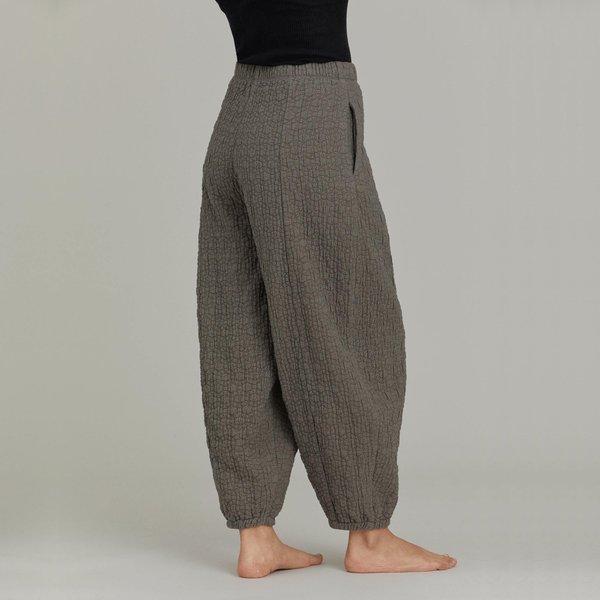 Black Crane Quilted Wide Pants - Mud