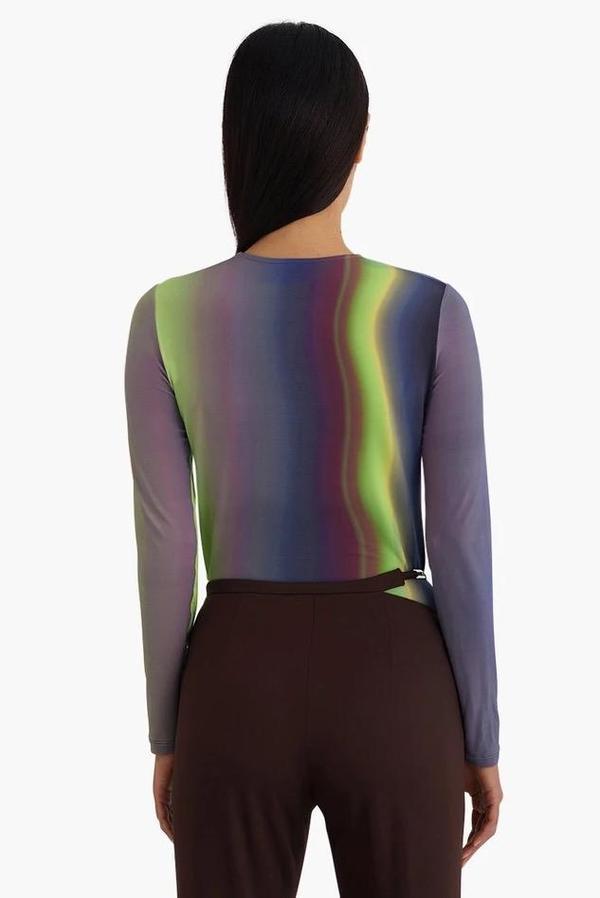 Paloma Wool Iceland Long Sleeved Northern Lights T-Shirt - Multi Blue