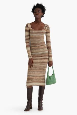 Paloma Wool Marcela Long Sleeve Midi Knit Dress - Light Brown
