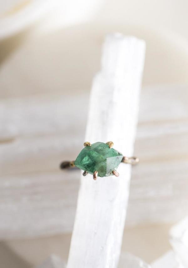 14k-24k Gold, Sterling Silver and Brazilian Emerald Ring