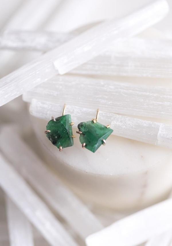 Variance Objects 14KT-18KT Gold Brazilian Emerald Hook Earrings - Gold