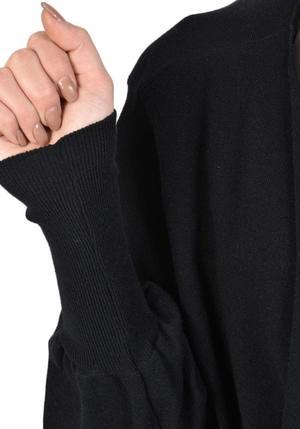 La Haine Oversized Bishop Sleeve Tie Waist Sanus Cardigan - BLACK/BORDEAUX