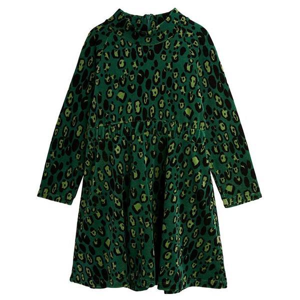 kids Mini Rodini Child Leopard Velour Dress - Green